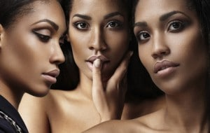 three woman's faces collage about ideal skin